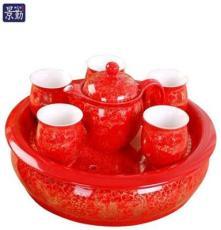 景德镇陶瓷茶具套装骨瓷 双层隔热茶杯茶壶带托盘 新婚喜庆礼品瓷