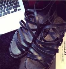 2014夏新款獨家定制涼鞋頭層牛皮 I.T風高幫綁帶一字扣帶厚底涼鞋