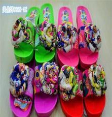 2014夏季新款韩国时尚女士沙滩鞋 花朵拖 水松木花纹防滑高跟拖鞋