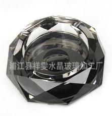 浦江縣祥雯水晶玻璃加工廠 批發水晶煙灰缸 八角度黑銀水晶煙灰缸