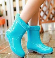 韩版新雨靴保暖加绒防水防滑翻毛雨鞋水鞋胶鞋短靴女靴子以及地方
