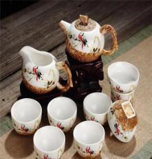 供应厂家直销日用茶具 亚光手绘茶具 龙泉青瓷茶具