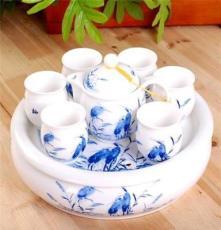 景勤陶瓷 高档青花釉中彩双层防烫杯茶具套装含茶盘 鹭栖 C161
