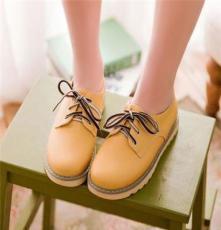 14春夏新品平跟单鞋松糕低帮休闲鞋学院风糖果学生女鞋子一件代发