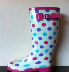 杭州好蒔莜菲妮雨靴時尚 長筒雨靴g-yoyo 女士圓點雨靴