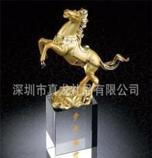 廠家直銷 水晶+合金工藝禮品擺件馬到成功商務禮品