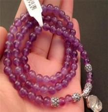 925純銀烏拉圭天然紫水晶手鏈女款紫晶多層纏繞開運佛頭佛珠手串