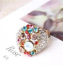 厂家直销 批发 三色饰品 水晶钻戒 外贸欧美戒指 潮流时尚