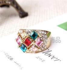 三色可选饰品 水晶钻戒 外贸欧美戒指批发 潮流时尚NO011
