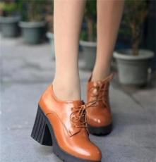 春秋新款正品休闲系带粗高跟圆头学生女鞋森女英伦风松糕单鞋6615