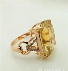 11.18大促纯天然巴西黄水晶A货通透时尚戒指环14k金镶钻特价5