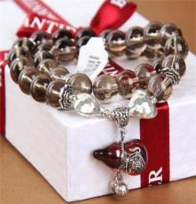 純天然茶晶佛珠手鏈 925純泰銀鑲紅石榴石手串 半寶石飾品批發