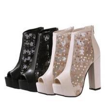 2014新款潮女鞋 英伦鱼嘴鞋 防水台高跟鞋 粗跟蕾丝女凉鞋