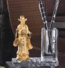 招財進寶工藝禮品擺件禮品,合金水晶筆筒辦公擺件工藝禮品