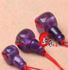 洛奇DIY水晶佛珠配件材料*批發天然紫水晶藏式三通佛頭 東海水晶