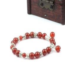天然紅瑪瑙手鏈 藏銀手鏈 時尚個性女款手鏈 水晶手鏈 旺運