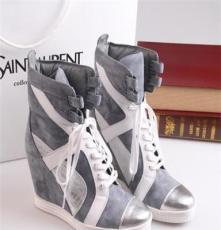 新款 欧美外销大牌女短靴内增高系带拼接坡跟女靴马丁靴