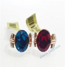 威妮華高檔飾品 時尚高檔藍色水晶戒指 威妮華正品批發