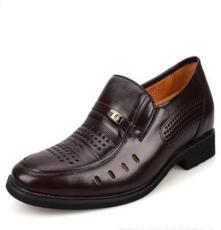 男士隐形内增高 6CM皮鞋 镂空透气凉鞋 软皮软底洞洞鞋