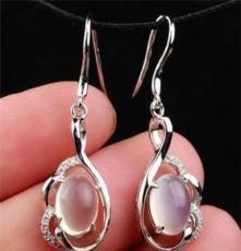 批發東海水晶耳墜-天然月光石耳飾-純銀鑲嵌-S925銀鍍白金