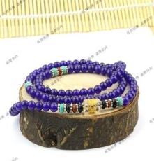 特價 水晶紅瑪瑙 紫玉髓 粉晶石榴石 108顆六字真言佛珠手鏈