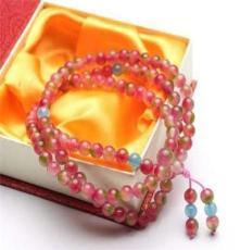 旺夫助運西瓜玉髓佛珠108顆女士繞腕多層長款水晶批發飾品手鏈