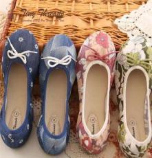 霍思1-7歲小花鞋女童純棉舒適平跟花紋單鞋  廠家直批