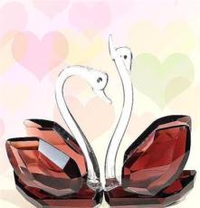 浦江廠家 水晶天鵝 客廳水晶擺件 家居情侶天鵝水晶