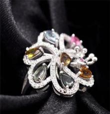 力臻珠寶 2014春季新款珠寶飾品珠寶首飾批發天然碧璽戒指配飾