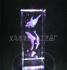 廠家直銷 水晶工藝品 水晶內雕 三海豚水草 海洋系列 創意禮品