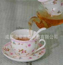 田園泡花果花茶具耐熱玻璃骨陶瓷內膽加加暖底座花茶具禮盒套裝
