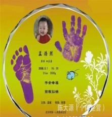 浦江水晶 批發水晶斜面白坯 嬰兒紀念品 水晶手腳印 寶寶手腳印