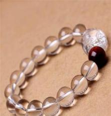天然白水晶貔貅手鏈 白水晶配紅虎眼手鏈 商務高檔禮品