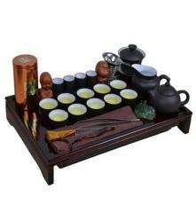 品鸿 宜兴紫砂功夫茶具套装批发 壶杯公道杯 实木茶盘 整套茶具