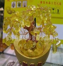 新品 天然黃水晶聚寶盆 招財樹擺件辦公用品外貿出口工藝品 禮品