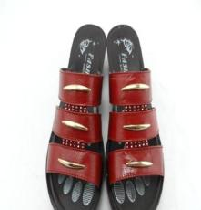 美洲豹Eu-6383女式夏凉鞋 真皮舒适 休闲坡跟凉鞋