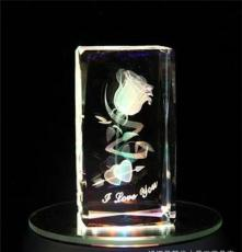 USB發光旋轉 水晶內雕星座玫瑰花 女 特別生日禮物
