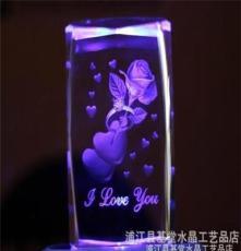 USB發光旋轉 水晶內雕 玫瑰花 女朋友情人 特別生日禮物