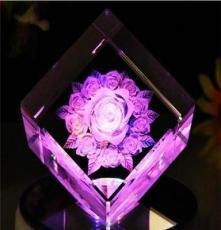 特價批發 水晶方體 白胚 水晶玫瑰花 生日禮物 情人節禮物擺件
