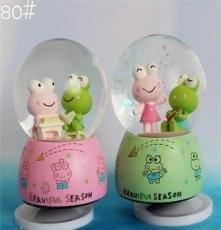 批發銷售80#中號青蛙情侶音樂盒 旋轉底座水晶球