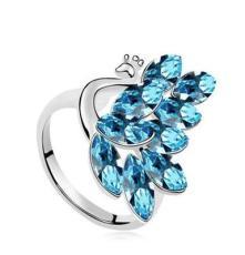廠家直銷 正品奧地利水晶 保色電鍍 代發女戒指指環 孔雀皇后9507