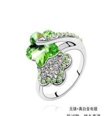 奧地利水晶戒指--雙梅