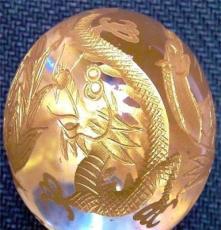 手工雕刻金四神天然水晶丸玉