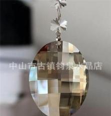 廠家直銷32MM至76MM機磨水晶 干邑色蛋形 水晶燈飾掛件 珠簾掛件
