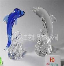 水晶禮品廠家定做 水晶動物 水晶海豚 藍色水晶 雕刻