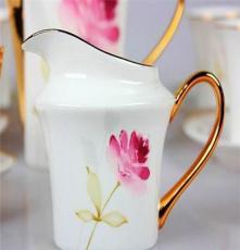 高档骨瓷15头咖啡具套装 手工镶金 欧式
