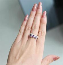時尚水晶首飾 925銀天然紫水晶戒指 女 戒指飾品批發
