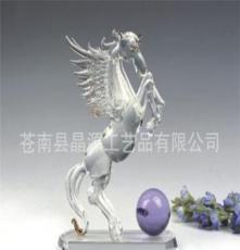 拉絲水晶生肖馬擺件 大水晶馬家居裝飾品 高檔商務禮品辦公擺件