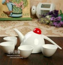 优级骨瓷功夫茶具 陶瓷茶具 小喜鹊套装 纯白5件套 礼盒套装