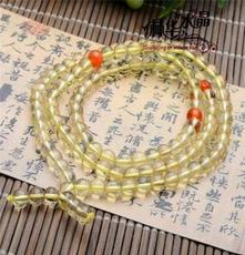 林華水晶 天然黃水晶108顆佛珠手鏈 東海天然水晶半成品批發